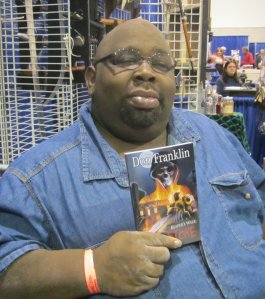 "Don Franklin was busy selling his horror novel, ""Reaper's Walk: Hellstone"""