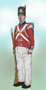 British soldier of 23rd Foot  (Royal Welch Fusiliers). At Waterloo  they fought under Mitchell's 4th Brigade stationed near Hougoumont. With the heavy rain of the night before, the white trousers were said to be stained pink from dye running out of the jacket.  Image (c) Jakebnb (own work).